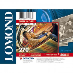 Бумага LOMOND односторонняя  суперглянец  А6(10*15), 270г/м2,,(500 л) 1106103