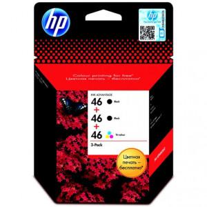 Картридж HP CZ637A(2шт)+CZ638A №46 F6T40AE 2черных/цветной для DJ 2020hc